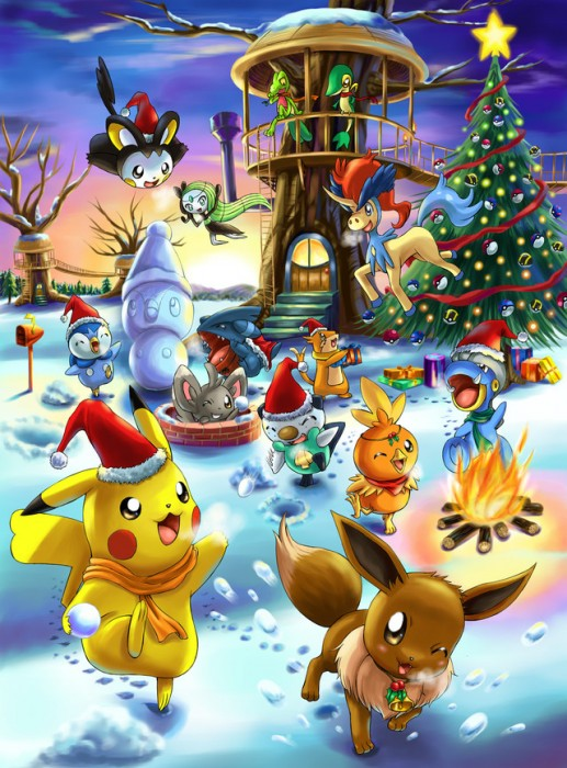 fanart-pokemon-pikachu-evoli-noel-christmas-xmas-winter-hiver-anime-online-streaming-manga-tv-legal-gratuit